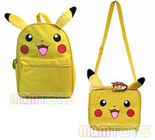 "Pokemon Pikachu 16"" Large School Backpack Lunch Bag Book Bag Set Plush Ear"