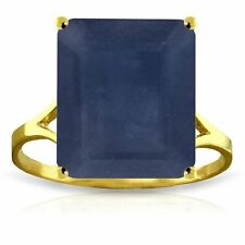 Genuine Sapphire 7 ct Emerald Cut Gem Solitaire Ring 14K. Yellow White Rose Gold