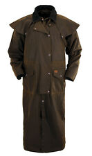 OUTBACK TRADING OilSkin Stockman Duster w/ Leather Collar Black Brown 2056 NWT
