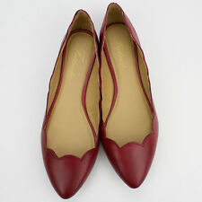Womens Red Genuine Leather Round Edge Pointy-Toe Fashion Ballet Flats