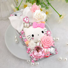 Luxury 3D Bling Pearl Hello Kitty Handmade Hard Phone Cover Case For Cell Phones