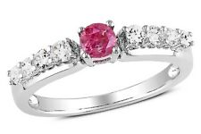 ICE  1/2 Carat Pink and White Diamond 14K White Gold Engagement Ring - 750070173