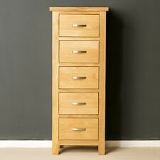 London Oak Tall Chest of Drawers / Light Oak Tallboy / Solid Wood / Brand New