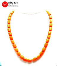 """SALE GENUINE Big 10-11mm Thick Slice NATURAL Red Coral long 18"""" Necklace-5844"""