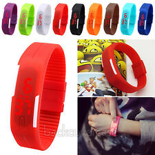 Red LED Rubber Silicone Sport Bracelet Digital Wrist Watch for Men Women WHS684