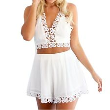 White V Halter Neck Mini Tank Tops Short Pants Casual Women Two-Piece Set