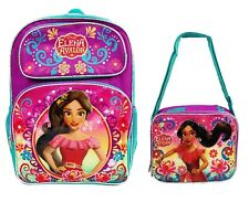 "Disney Princess Elena of Avalor 16"" Large School Backpack ,Lunch Bag Box (1pc)"