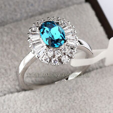Fashion Rhinestone CZ Simulated Sapphire Ring 18KGP Crystal Size 5.5-9