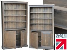 "Large Solid Pine Bookcase, 7ft Tall x 45"" Wide Bookshelves with Cupboards"