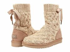 Women's Shoes UGG Australia Isla Cable Knit Boot Heathered Oatmeal 1008840 *New*