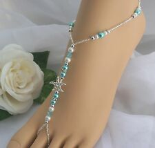Turquoise Blue Starfish Foot Jewelry Wedding Starfish Barefoot Sandal