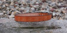 TAN LIGHT BROWN 1 INCH LEATHER DOG COLLAR FREE CUSTOM NAME STAMPED PERSONAL