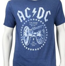 AC/DC Mens Blue Cannon Tee TShirt For Those About to Rock We Salute You NEW