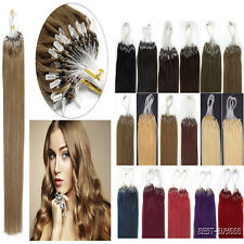 "16""18""20""22""Loop Micro Ring Beads Tipped Remy Real Human Hair Extensions 100S"