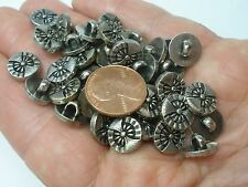 New lot of 12 Electroplated Plastic Silver Ornate 7/16 in (11mm) Buttons (#E)