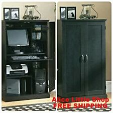 Computer Armoire Wood Desk Hutch Cabinet Home Office Furniture Shelves Storage