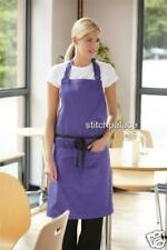 "Dennys Bib Apron With Pocket 14 Cols 36x36"" Adjustable Embroidery Text Choice"