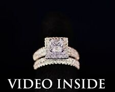 "Glow""*Princess Cut 3.8CT 2Pcs Engagement Diamond Ring Set F.22KT.S.Silver ITALY"