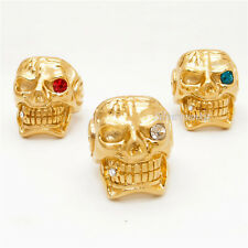 MENS Huge Gold Skull Cigar White/Red/Blue Eye CZ 316L Stainless Steel Biker Ring