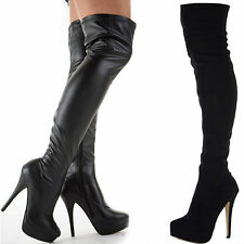 LADIES WOMENS BLACK STRETCH OVER KNEE THIGH HIGH PLATFORM STILETTO HEEL BOOTS