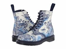 Women's Shoe Dr. Marten Pascal 8 Eye Boots 16731110 Willow Suede White+Navy New*