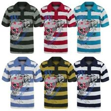 KIDS SHIMMERING SKULL PRINT T-SHIRT BOYS GIRLS STRIPY POLO TOP SIZES 3-14 YEARS