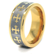 8mm 18k Gold Plated Gothic Crosses Tungsten Carbide Wedding Ring