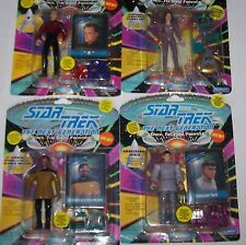 NEW STAR TREK THE NEXT GENERATION 4 Action Figure LOT Numbered W/ SKYBOX CARDS