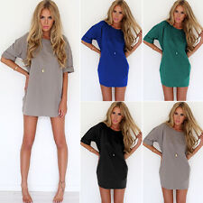 Summer Sexy Women's Short sleeve Party Dress Evening Cocktail Casual Mini Dress