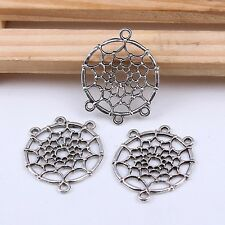 5/20/100pcs Tibet Silver Dreamcatcher Connector Jewelry Charms Pendant 34x28mm