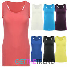 WOMENS CASUAL PLAIN RACER VEST TOP LADIES JERSEY STRETCHY MUSCLE STRAP VEST TOP