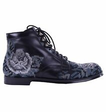DOLCE & GABBANA RUNWAY Baroque Embroidery Boots Shoes Black Grey 03824