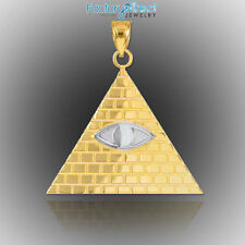 Two-Tone Gold Egyptian Pyramid with All-Seeing Eye Pendant