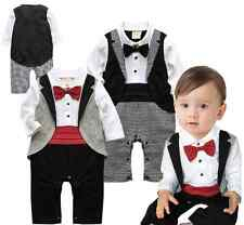 Baby Boy Wedding Dressy Party Tuxedo Waistcoat Suit Romper Outfit Clothes 3-24M