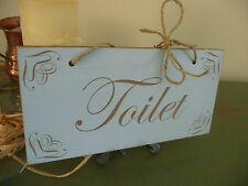 Shabby Chic Toilet Wooden Bathroom Door Home Sign WC Plaque Distressed Vintage