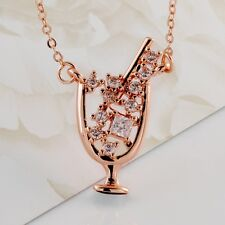Women's 18K Gold Filled Swarovski Crystal Rhinestone Wine Cup Pendant Necklace