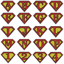 Superman Alphabet & Numbers * Machine Embroidery Patterns * 36 designs, 2 sizes