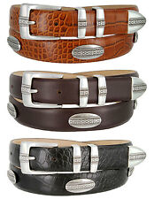 "Scarsdale - Mens Genuine Italian Calfskin Golf Conchos Dress Belt, 1-1/8"" Wide"