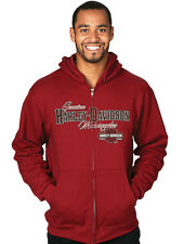 Harley-Davidson Mens Trademark B&S Full Zip Dark Cardinal Red Long Sleeve Hoodie