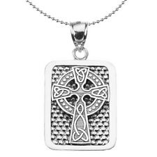 Sterling Silver Celtic Knot Cross Engravable Dog Tag Pendant Necklace