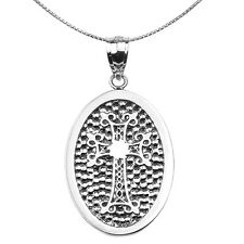 Sterling Silver Armenian Cross Engravable Oval Pendant Necklace