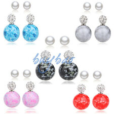 2 Pairs Candy Color Double Sided Resin Crystal Ball Pearl Earring Disco Ear Stud