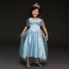 Girls Anna Princess Dress Elsa Frozen Cosplay Costume Party Dress Christmas Gift