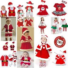 Baby Kids Boy Girl Christmas Santa Claus Party Costume Dress Outfit Set 0M-4Yr