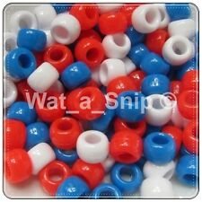 Mixed Red, White + Blue Opaque Pony Beads, Hair Braiding, Dummy Clips