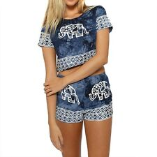 Women Short Sleeve Elephant Bare-Midriff New Tops Short Pants Blue Two Pieces