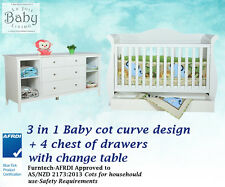 Baby Furniture Combo Set - Baby Cot 3 in 1 Premium Sleigh + 4 Chest of Drawers