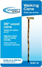 Natural Wood Cane Round / Derby Handle, Scorched / Bamboo / Engraved 35""