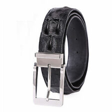 GAVADI MENS  REAL CROCODILE SKIN LEATHER BELTS BLACK BELT SILVER BUCKLE NEW!!!
