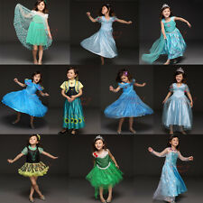 FROZEN Princess Anna Elsa Queen Girl Dress Fancy Cosplay Costume Halloween Party
